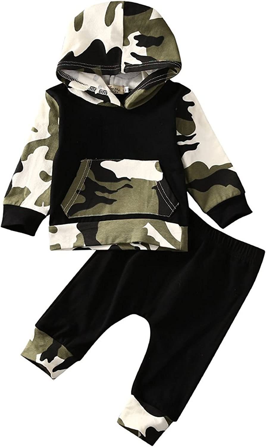 Infant Baby Boys Camouflage Hoodie Tops +Long Pants Outfits Set Clothes 0-3Y: Clothing