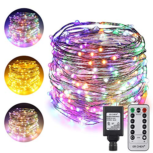 ErChen Dual-Color LED String Lights, 100 FT 300 LEDs Plug in Silvery Copper Wire 8 Modes Dimmable Fairy Lights with Remote Timer for Indoor Outdoor Christmas (Multicolor/Warm White)
