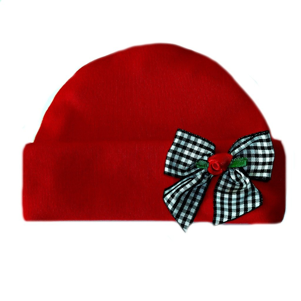 Jacquis Baby Girls Red Hat with Black Gingham Rose Bow