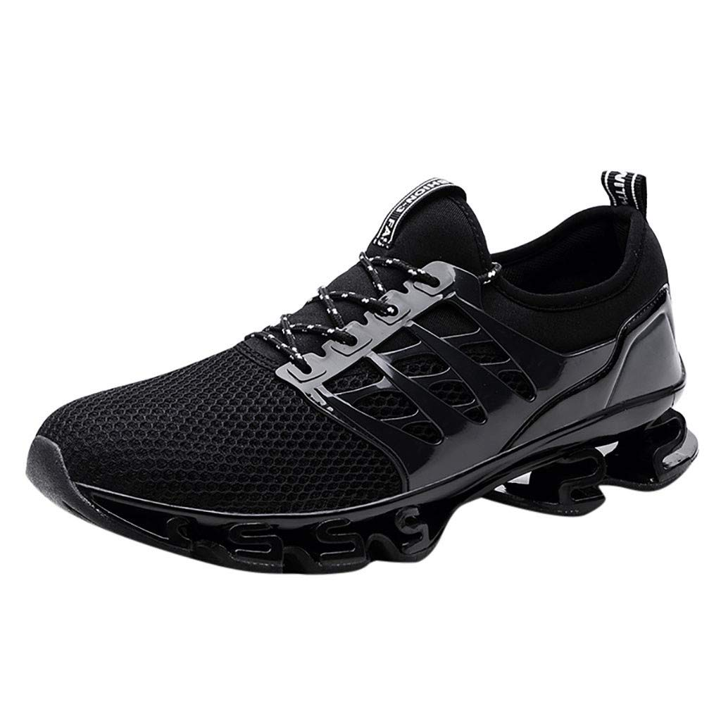 Men's Athletic Sports Sneakers, Outdoors Running Blade Bottom Shoes Non-Slip Light Jogging Lace Up Shoes Size US 6.5-11.5 (Black, US:10)