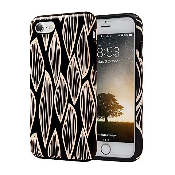 SKINU iPhone 7 Case, Designer Pattern [Shockproof 2 in 1 Hybrid] Rugged [Heavy Duty Combo] [Dual Layer] High Impact… 1 Easy snap-on form-fitted slim and light weight hybrid fashion case Large cutouts fit most cables while protecting the phone and camera Two-part construction of shock-absorbing TPU and durable hard polycarbonate
