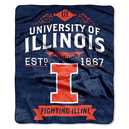 Northwest Officially Licensed NCAA Illinois Illini Label Plush Raschel Throw Blanket, 50