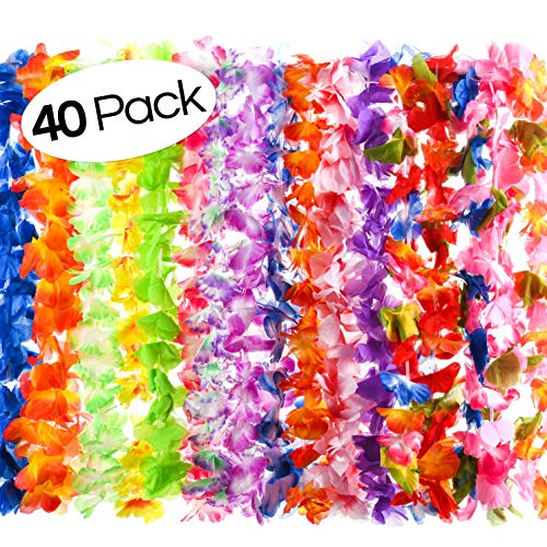 40 Count Hawaiian Flower Lei for Luau Party - Bulk Set of Floral Necklace Leis Vibrant Colors Assortment for Party Favors, Garland Decorations or Ornaments for Any Occasion]()