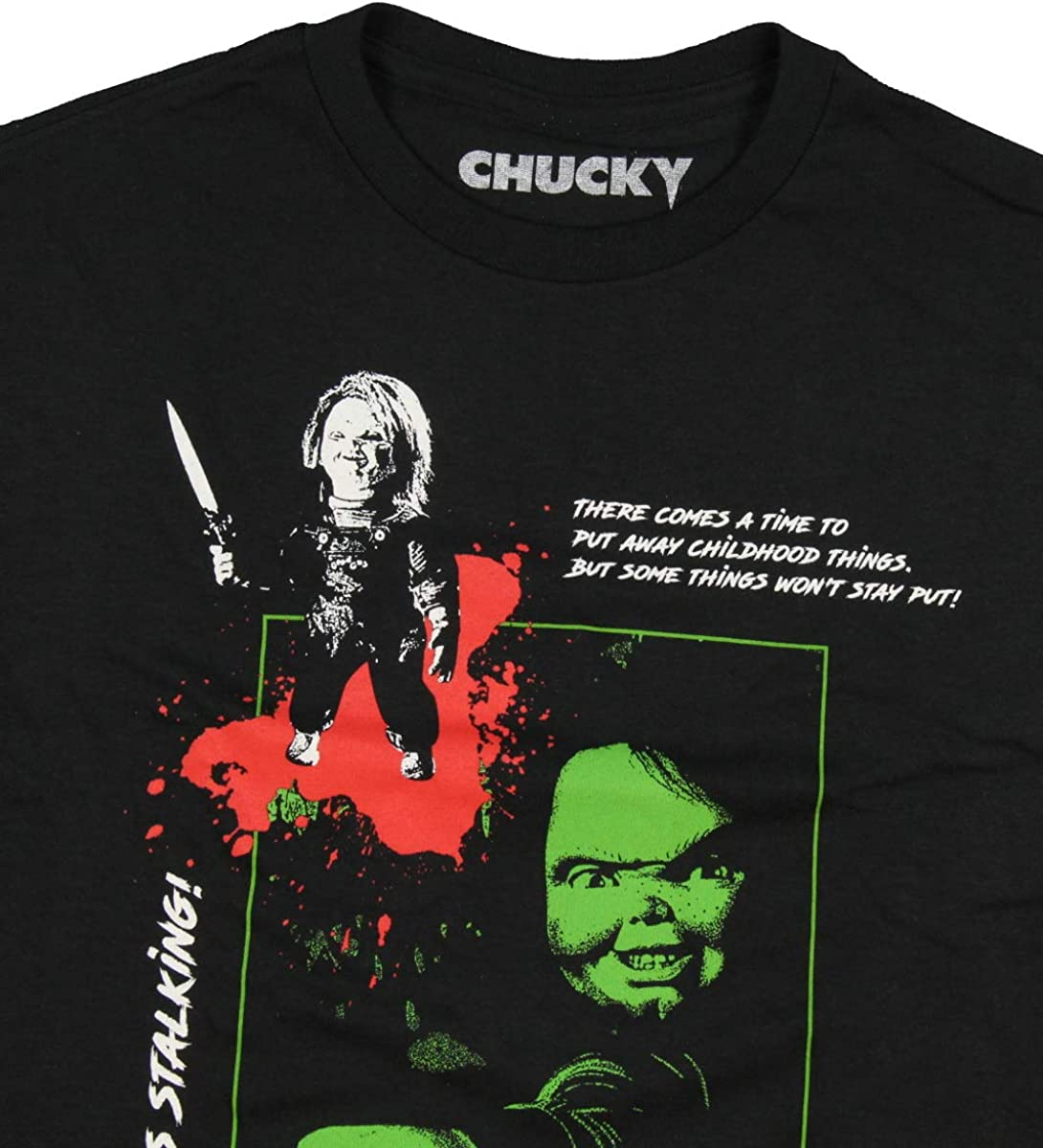 Seven Times Six ChildS Play Chucky Mens Look Whos Stalking Horror Film T-Shirt
