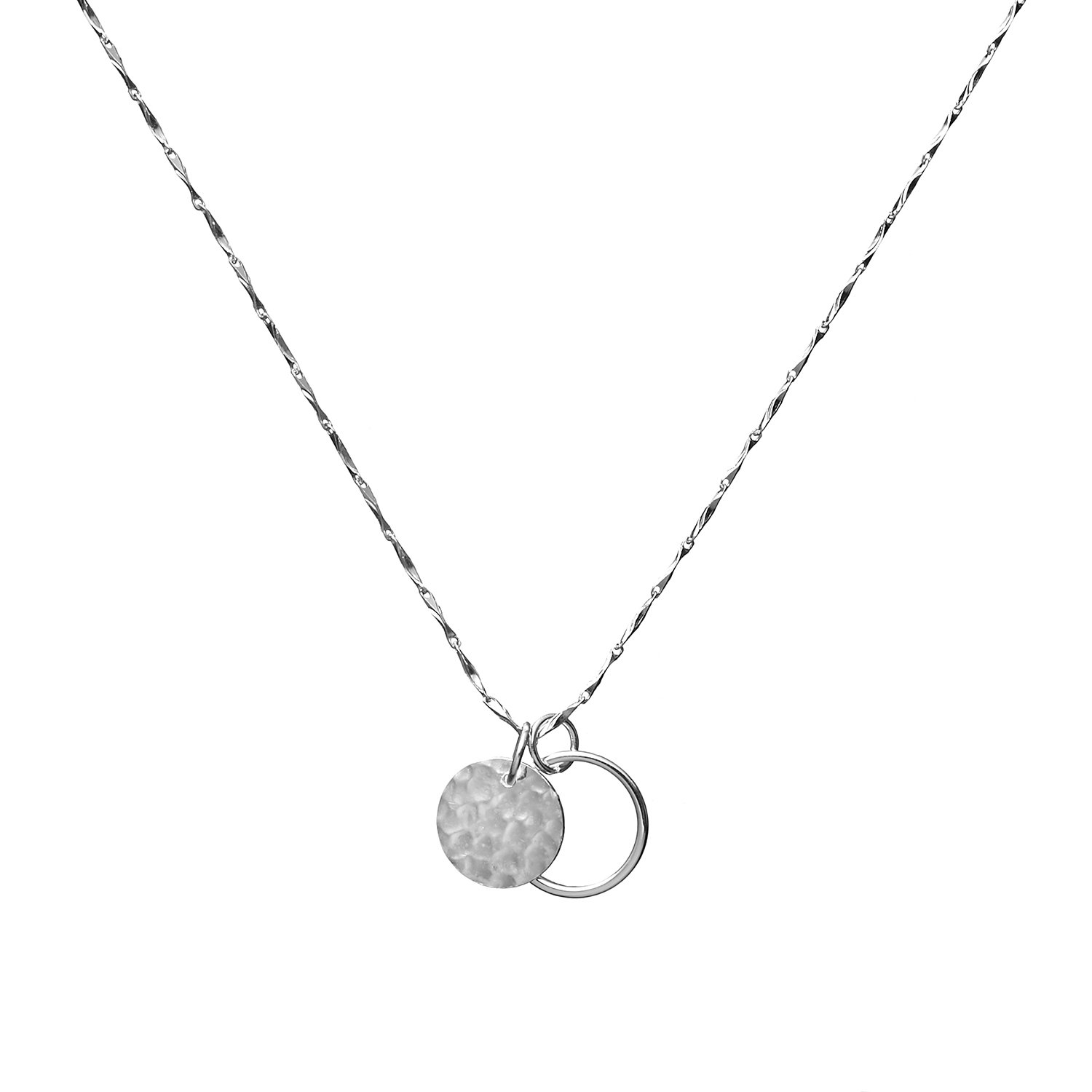 Wellme Sterling Silver Hammered Disc Karma Circle Pendant with 18'' Necklace Chain Fine Jewelry
