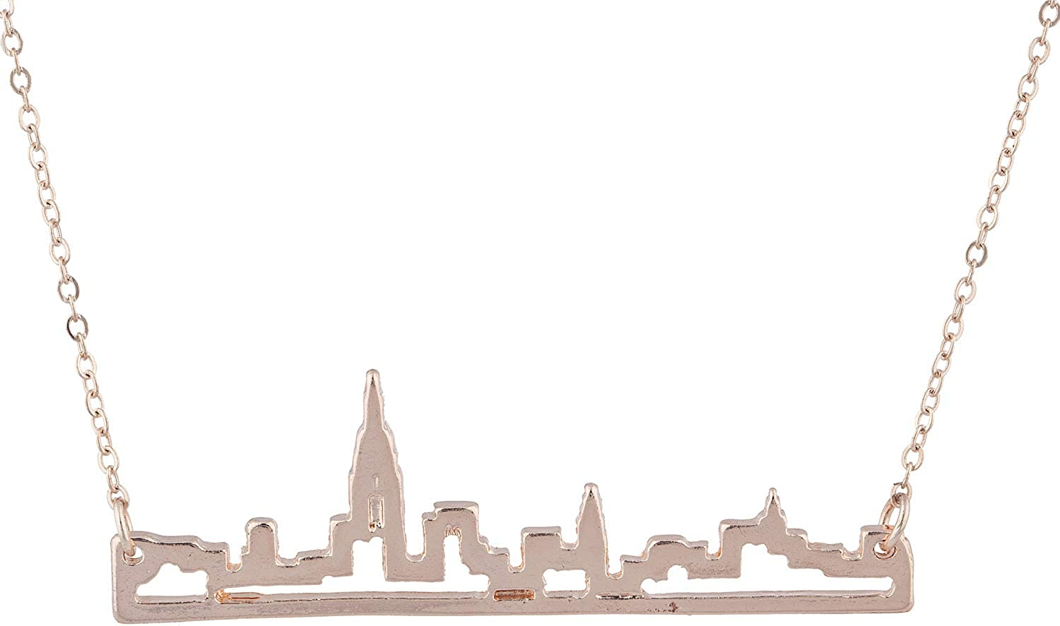 Lux Accessories New York City Skyline Empire State Outline NYC Pendant Necklace