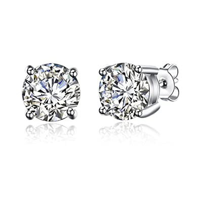 71c649fcc Image Unavailable. Image not available for. Color: Sterling Silver 4-7mm  Round Cut Cubic Zirconia (CZ) Stud Earrings ...