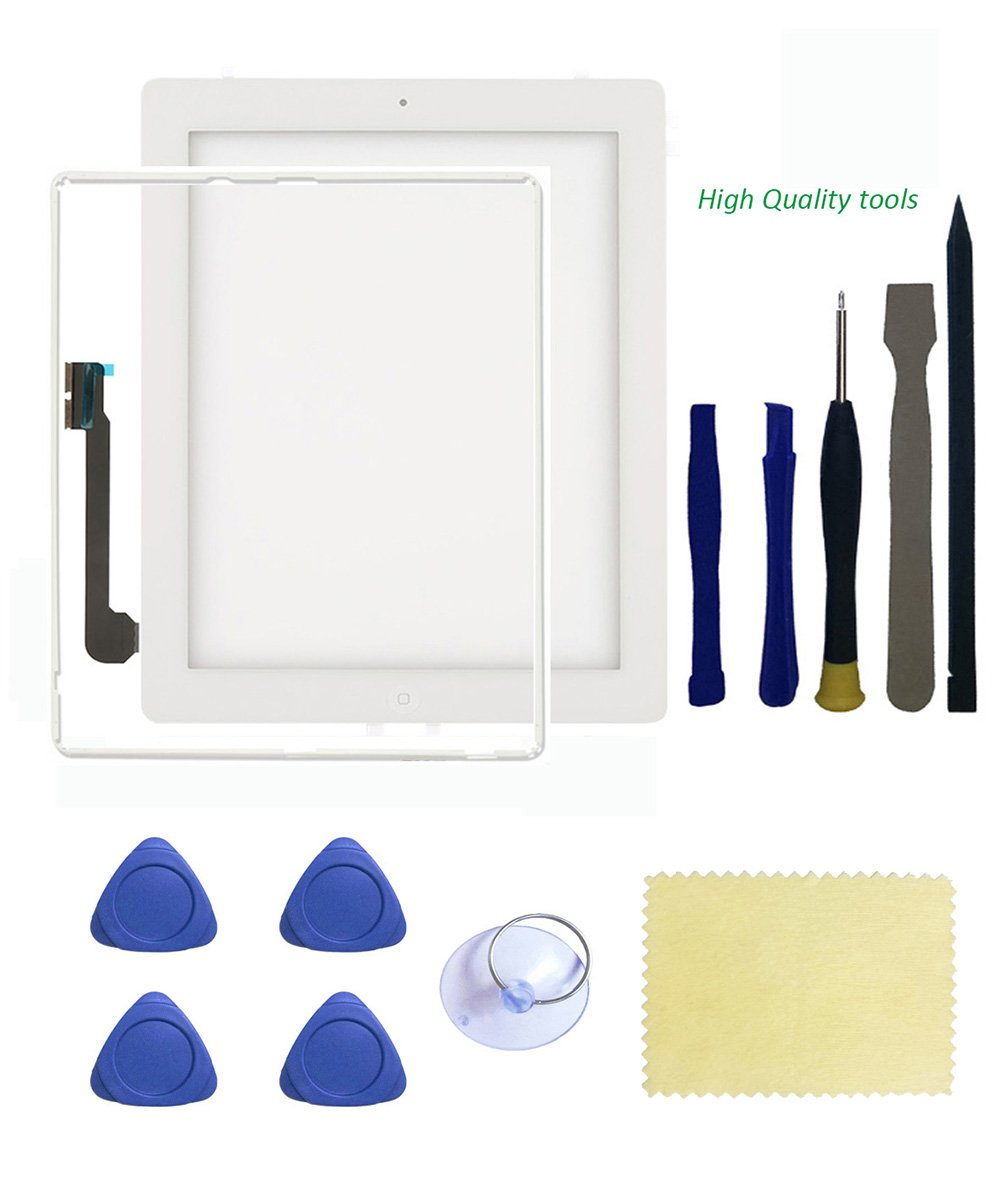 Original Ipad 3 Screen Replacement,FeiyueTech Touch Screen Digitizer Front Glass Assembly - Includes Home Button + Camera Holder +Frame Bezel+ PreInstalled Adhesive with Tools kit. (white)