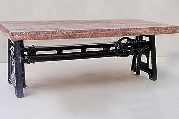 Mesa baja madera y soporte hierro fundido abatibles ...