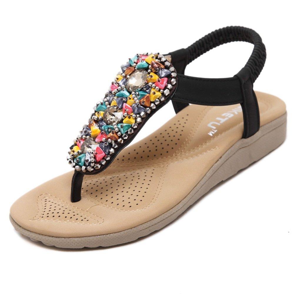 Sandalias Feifei Femeninas Bohemias del Estilo Popular del Verano Zapatos Antideslizantes del Estudiante Zapatos Romanos Suaves Grandes (Color : Negro, Tamaño : EU37/UK4.5-5/CN37)