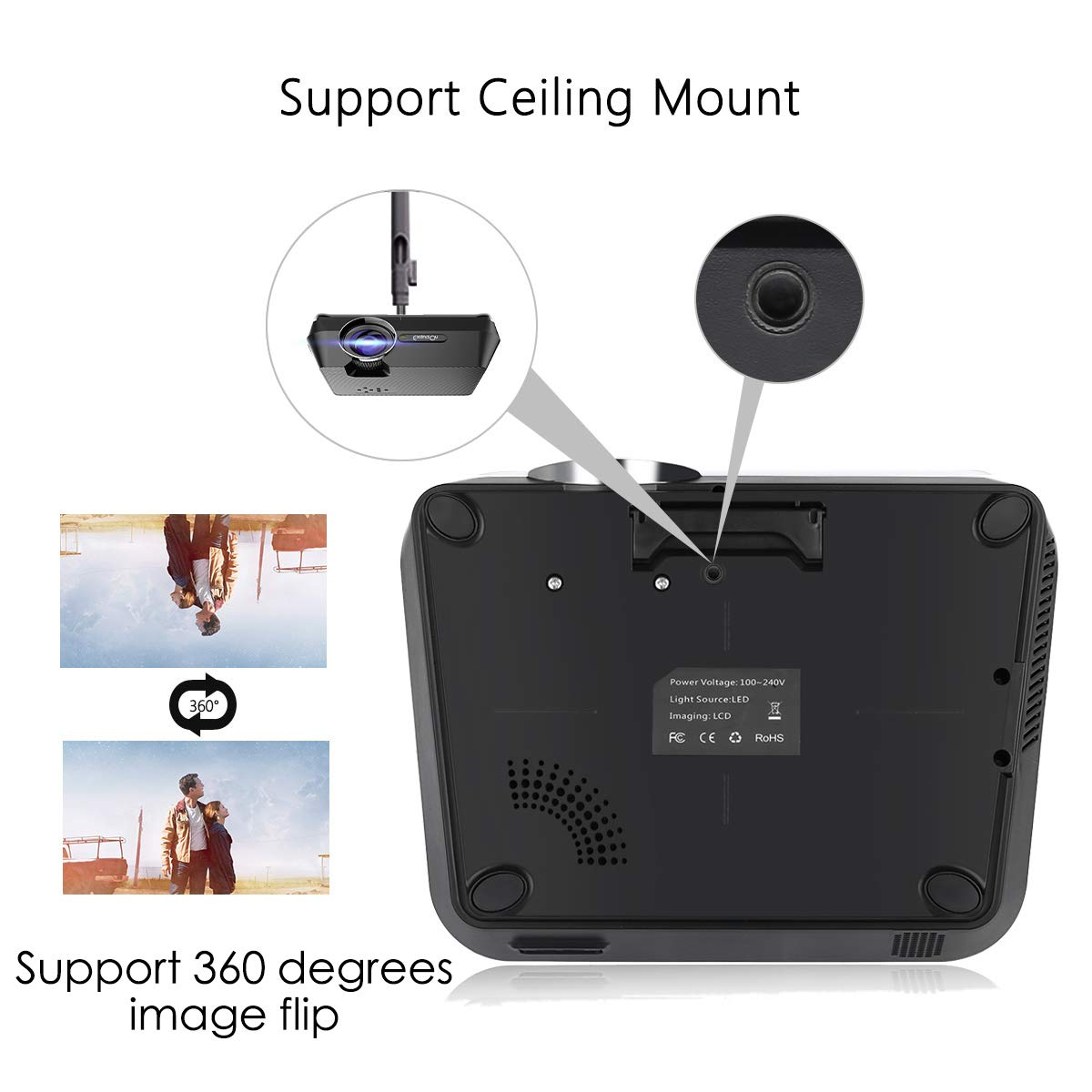 ExquizOn 2018 New Updated Mini Video Projector, 30% Lumens Brighter, New Smart Phone Mirror Function by Lighting or Micro USB Cable, 2200 Lumens Home Theater HDMI USB VGA AV TF (Gt-S9)