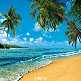 SJOLOON 10X10ft Beach Summer Holidays Photo Backgrounds Coconut Trees Blue Sky White Clouds Beautiful sea Photography Backdrops 10618