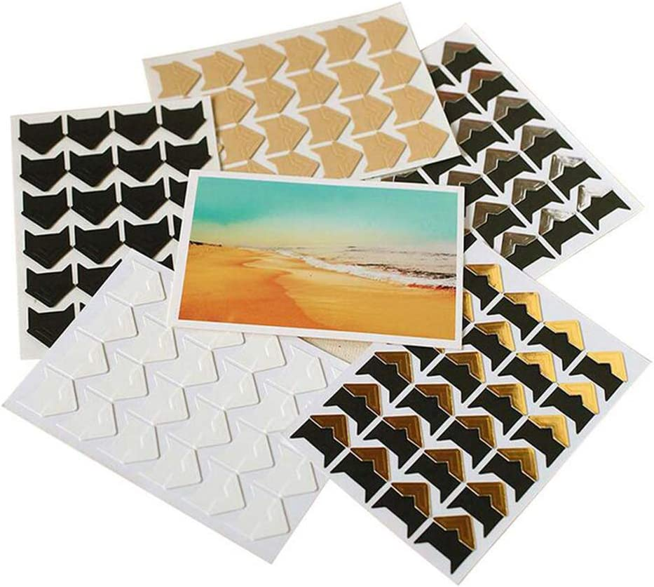 Black 6Sheets Retro DIY Photo Album Accessories Peel-Off Paper Photo Corner Stickers Pictures Mounting Corners for Scrapbook Album Personal Journal Dairy Organizer Notebook 144PCS