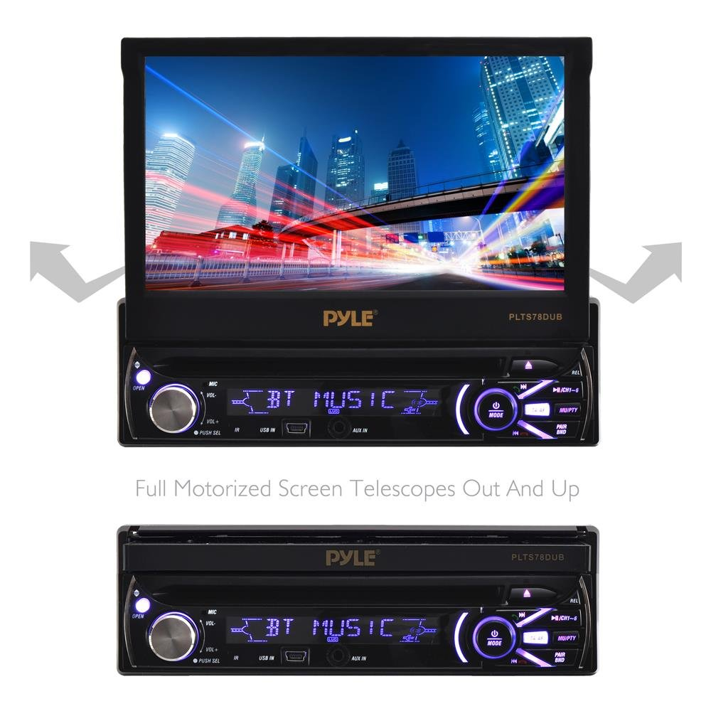 """Single DIN Head Unit Receiver - in-Dash Car Stereo with 7"""" Multi-Color Touchscreen Display - Audio Video System with Bluetooth for Wireless Music Streaming & Hands-Free Calling - Pyle PLTS78DUB by Pyle (Image #5)"""
