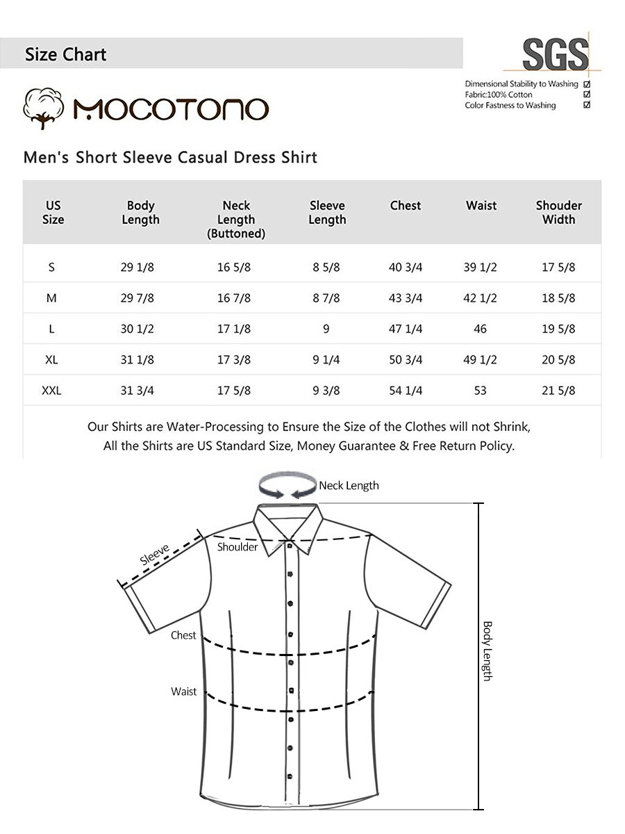 Men's Short Sleeve Oxford Button Down Casual Shirt by MOCOTONO (Image #7)