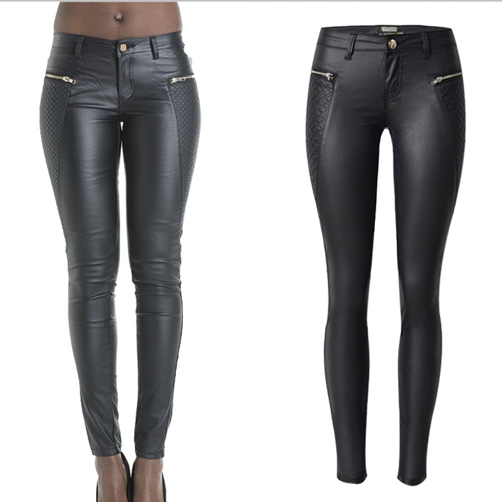lexiart PU Leather Pants For Women Sexy Tight Stretchy Rider Leggings black 2 (38)