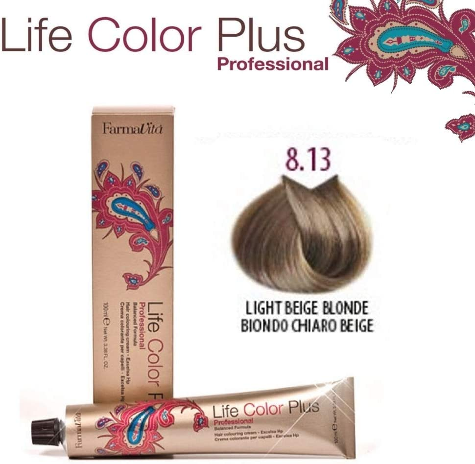 FarmaVita Life Color Plus, Tinte 8.13 Rubio Claro Beige - 60 ml (8022033007575)