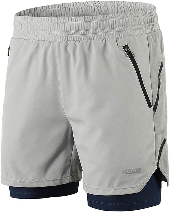 Pantaloncini da Corsa 2 in 1 con 2 Tasche con Cerniera Arsuxeo B191