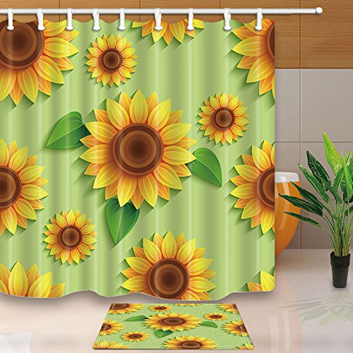 NYMB 3D Sunflowers and Leaves 69X70in Mildew Resistant Polyester Fabric Shower Curtain Suit With 15.7x23.6in Flannel Non-Slip Floor Doormat Bath Rugs