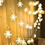 Ouniman Snowflake String Lights 50 LED Fairy Lights Battery Operated Waterproof for Wedding Easter Xmas Garden Bedroom Party Decor Indoor Outdoor Celebration Lighting - Yellow