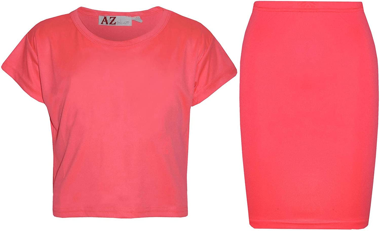 Kids Girls Plain Crop Top /& Slim Fit Pencil Skirt Set School Dance Party Fashion
