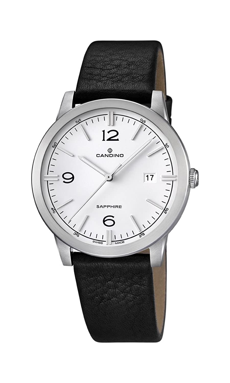 Candino Herren Quarz-Uhr mit weißem Zifferblatt Analog-Anzeige und schwarz Lederband C4511-1