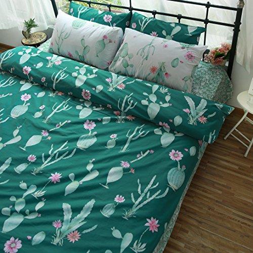 bedream suave 100% algodón juego de funda nórdica, reversible Fresh Cactus Naturaleza Plantas de impresión ropa de cama...
