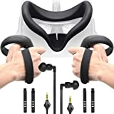 Accessories Bundle for Oculus Quest, Kit with Silicone Mask Pad Cover, Controller Knuckle Grip Strap, One-Side…