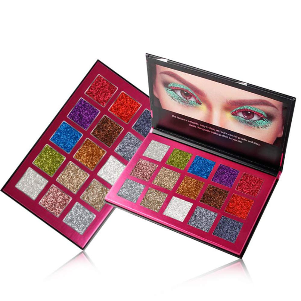 Glitter Eyeshadow Palette 15 Colors Highly Pigmented Mineral Foiled Long-Lasting Shimmer Powder Eye Shadow Palette Waterproof Makeup Kit (Glitter)