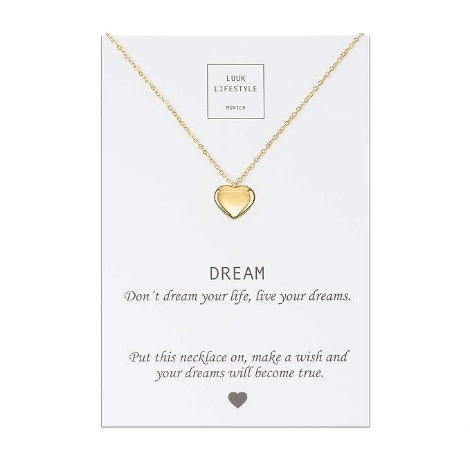 LUUK LIFESTYLE Collar de acero inoxidable con colgante de corazón, elefante, estrella y cita Dream, joya de mujer, tarjeta de regalo, amuleto, oro, ...