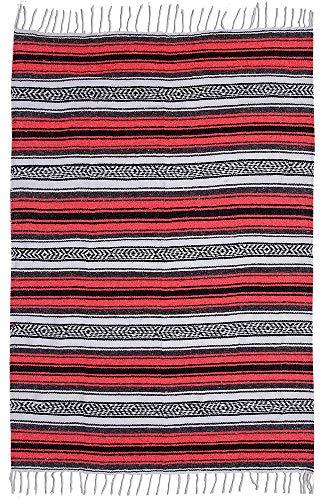 El Paso Designs Genuine Mexican Falsa Blanket - Yoga Studio Blanket, Colorful, Soft Woven Serape Imported from Mexico (Bright Coral) by El Paso Designs (Image #6)