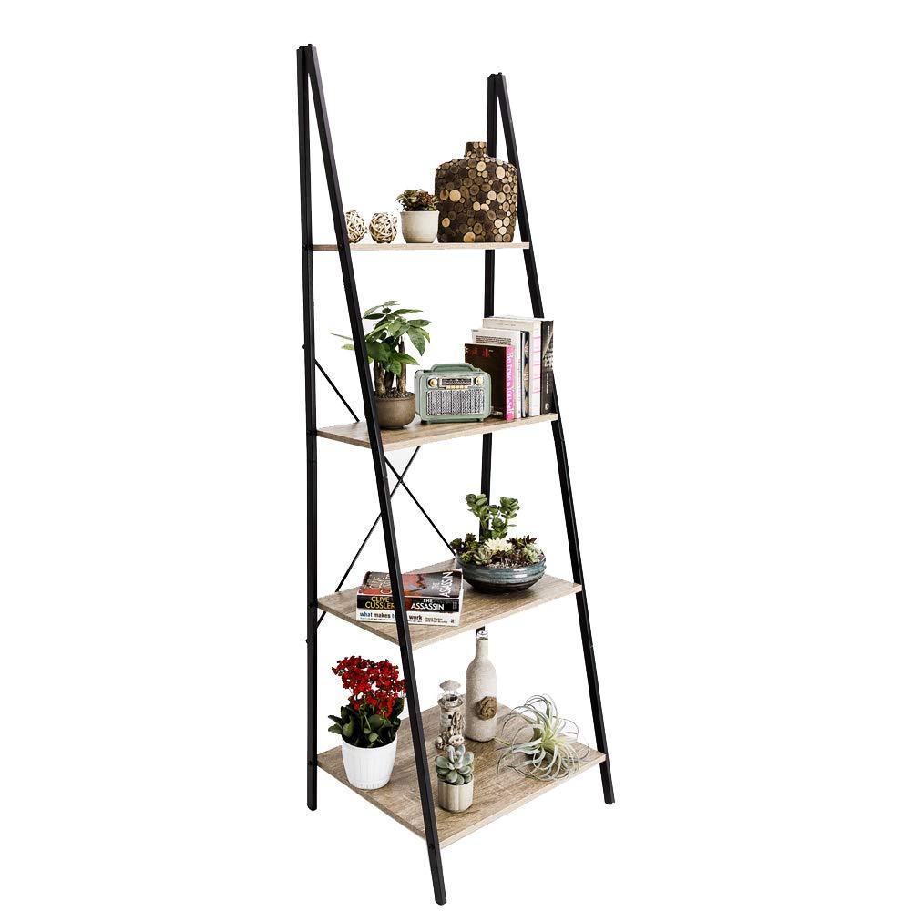 C-Hopetree Ladder Shelf Bookcase Freestanding Plant Stand Lounge Room Home Office Bathroom Storage Vintage Wood Look Accent Display Furniture Metal Frame