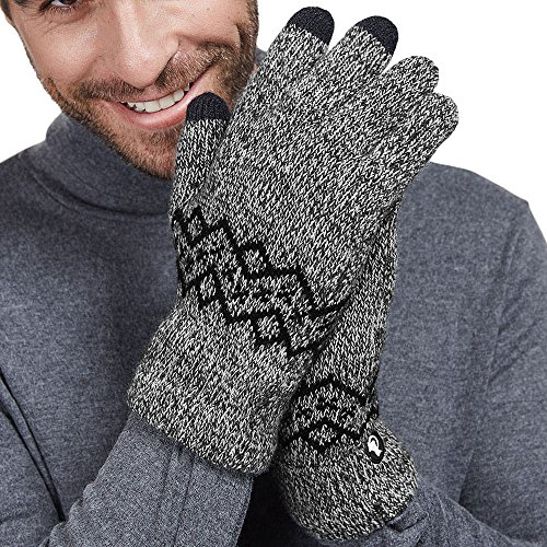 LETHMIK Wool Lined Knit Gloves Warm Winter Mens 3 Touchscreen Fingers for SmartPhones Black