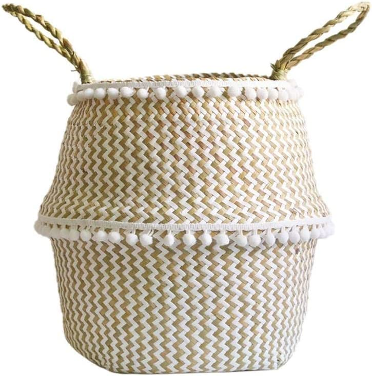 Hand-woven Foldable Hanging Basket Black Plaid Laundry Container Flower Pot