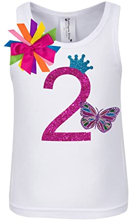 e53edb2f Bubblegum Divas Baby Girls 2nd Birthday Rainbow Butterfly Shirt 12