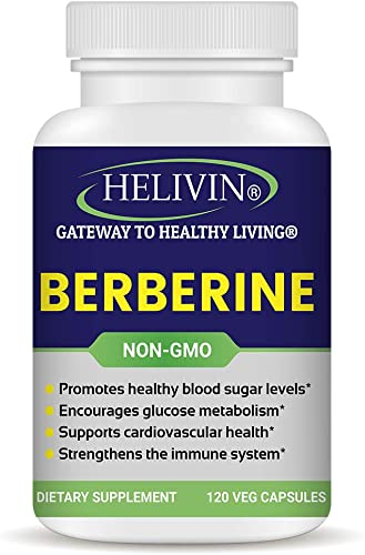 Helivin Berberine Capsules for Blood Sugar Support 120 Veggie Capsules Non-GMO No Magnesium Stearate