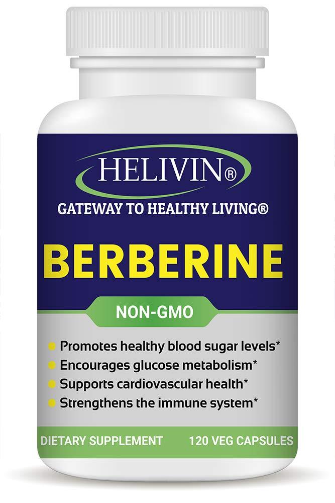 Helivin Berberine Capsules for Blood Sugar Support - 120 Veggie Capsules - Non-GMO - No Magnesium Stearate