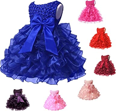 Amazon Com Baby Girl Dresses Ruffle Lace Pageant Party Wedding Flower Girl Dress Clothing
