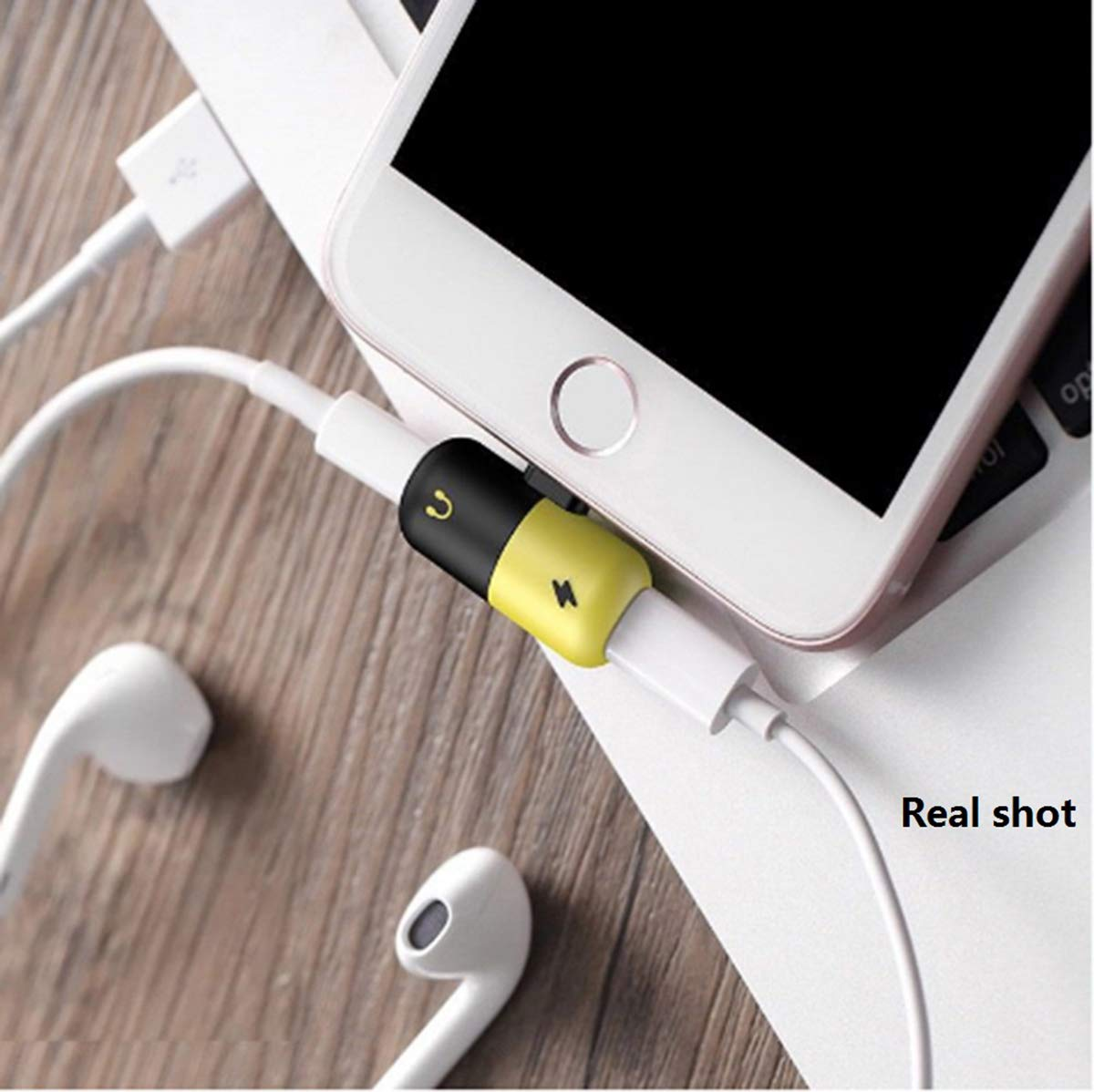 Zentop Mini Capsule Dual Audio Music Adapter Splitter Charger for iPhone 7 8plus X 8 7plus