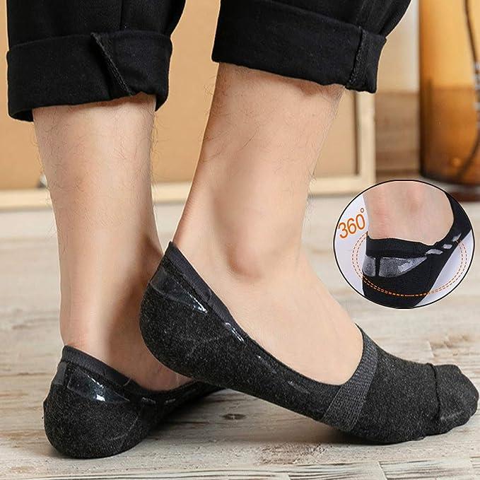 5Pairs Cotton Men Invisible Low Cut Cotton Non Slip Loafer No Show Socken W B0B6