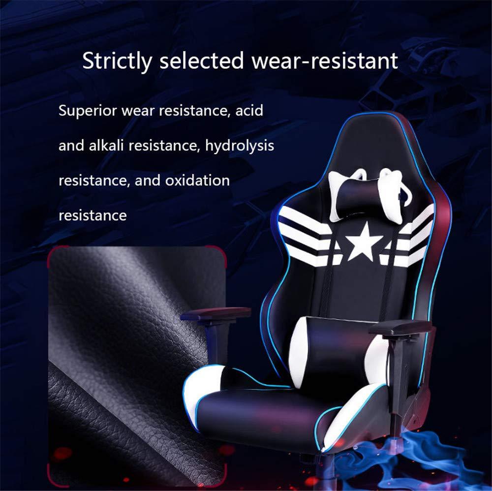 ZMXZMQ spelstol, speltävlingsstil svängbar stol, liggande hög rygg ergonomisk stol, inkluderar en tjockare och större matta, nackstöd ländrygg stöd justerbart armstöd, B Jag