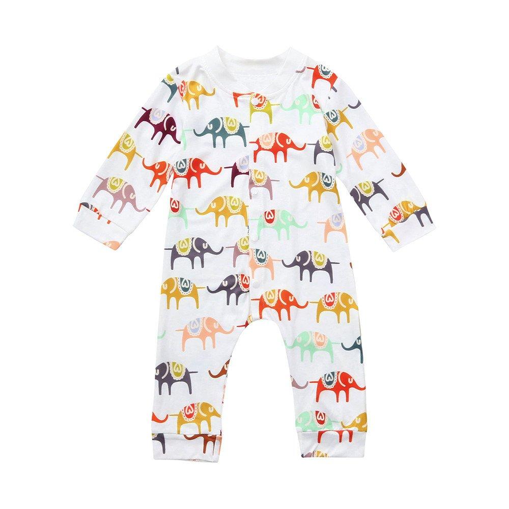 ALIKEEY Cute Kids Baby Elephant Print Niños Niñas Ropa Ropa Mameluco Overol Hombre Blusas Transparentes Mujer Fitness