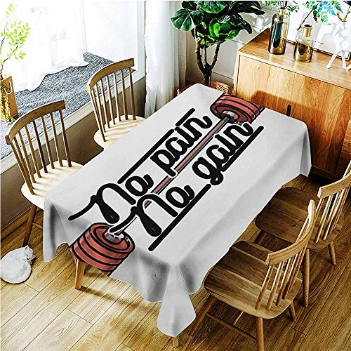Elastic Tablecloth Rectangular,Fitness Pain No Gain Vintage Emblem Design Barbells Weightlifting Bodybuilding,High-end Durable Creative Home,W60x120L,Coral Black White]()