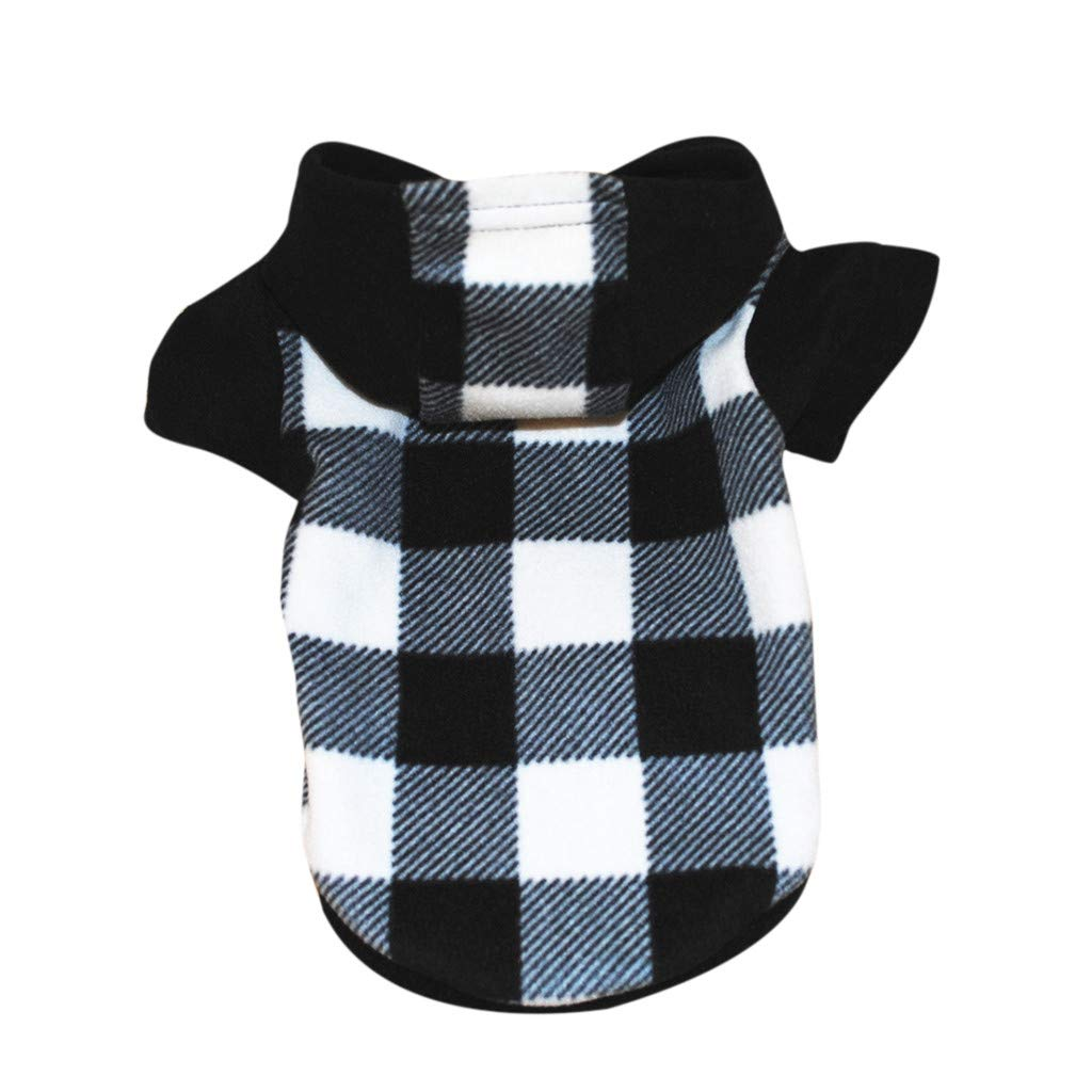 Pet1997 Pet Sweater With Hood Classic Plaid Clothing Dog Pet Clothes Hoodie Warm Fleece Puppy Coat Apparel (Black, S)