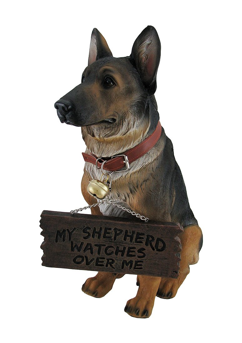 Private Label I Don't Dial 911 German Shepherd Guard Dog Warning Statue