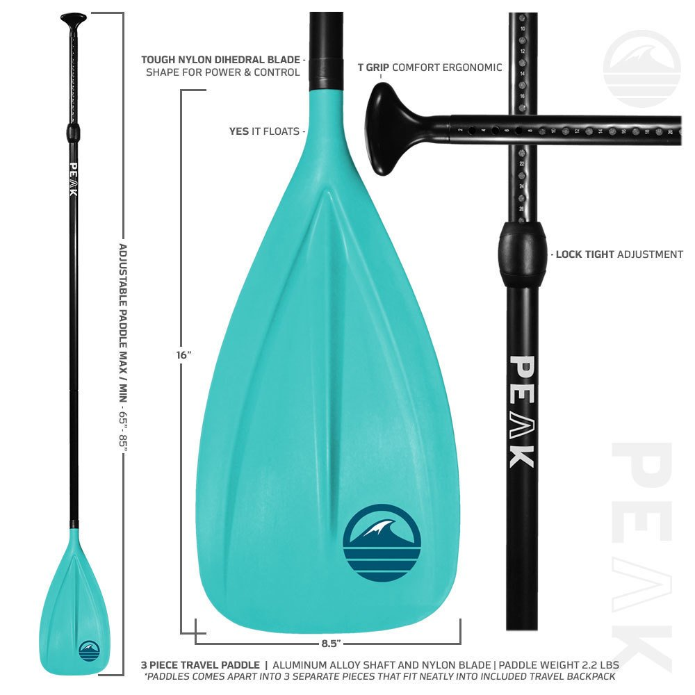 Peak All Around Inflatable Stand Up Paddle Board Package   10'6'' Long x 32'' Wide x 6'' Thick   Durable and Lightweight SUP   Stable Wide Stance   Aqua by PEAK Paddle Boards (Image #9)