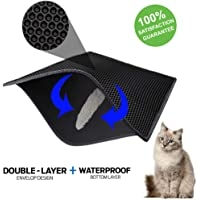 ZuHucpts Cat Litter Mat Trapper, Large Size 30'' X 24'', Double Layer Waterproof Honeycomb Design, Eco-Friendly Light Weight EVA Foam Rubber, Easy Clean and Durable, Non Toxic Trapper Rug Suitable for Litter Boxes/Tray(Black)