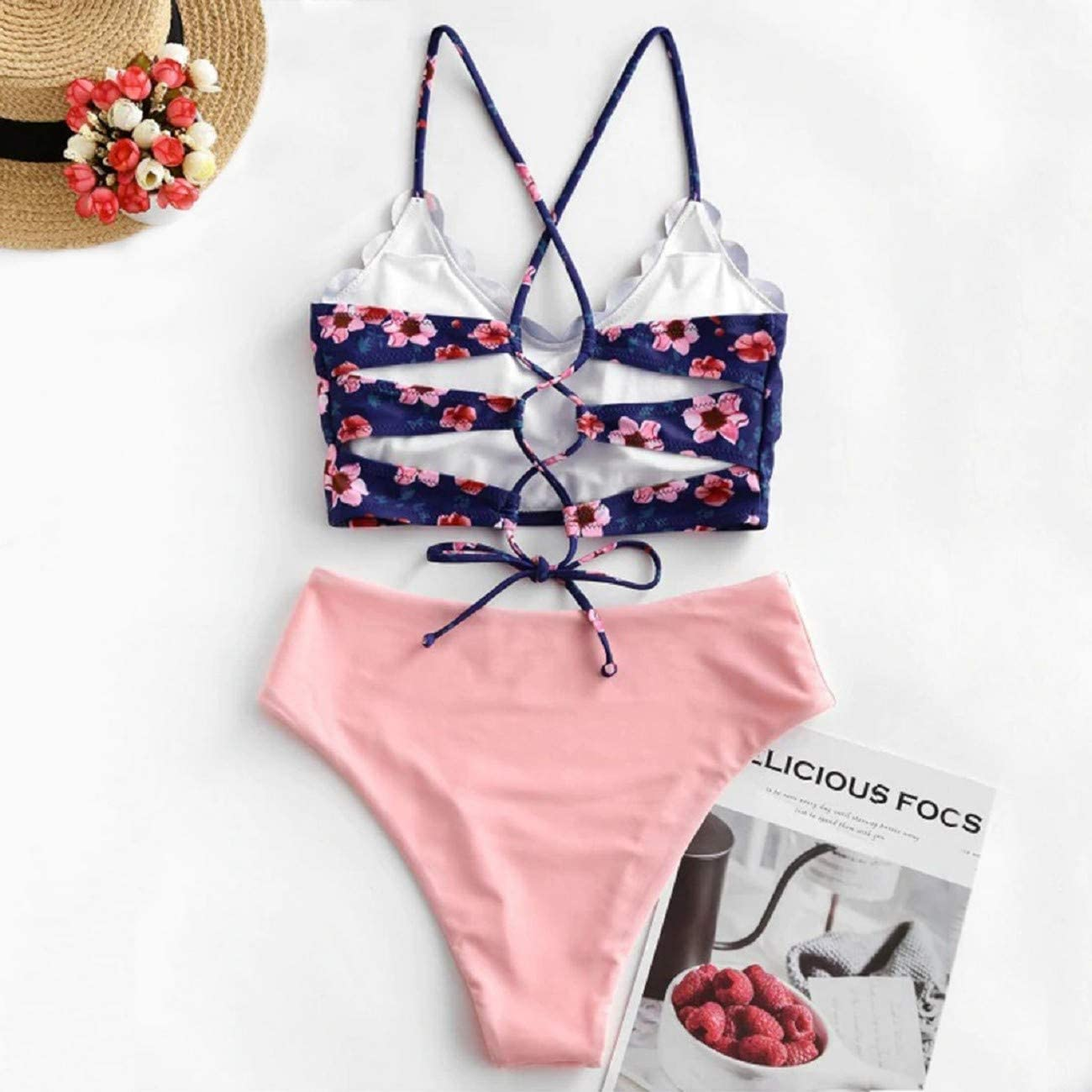 Adreamess Women Floral Scalloped Crisscross Tankini Swimsuit Swimsuit Beachwear
