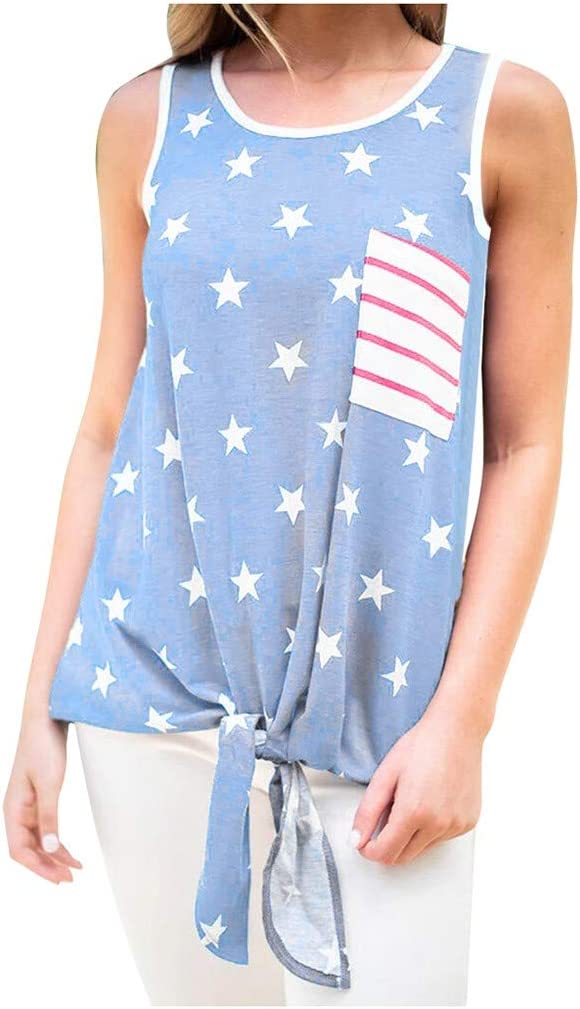 YANG  탑 여성 캐주얼 티셔츠 미국 국기 독립 블라우스 O-넥 조끼 프론트 매듭 티 탑스 민소매 셔츠