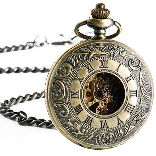 SIBOSUN Pocket Watch Mechanical Skeleton Double Cover Men Roman Numerals Hand Wind